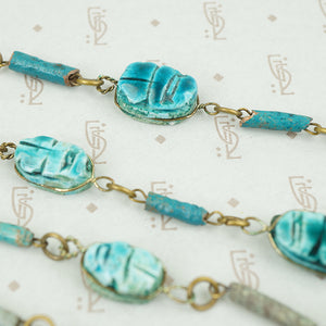 1960's Egyptian Revival Scarab Bead Necklace