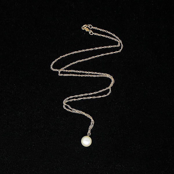 Vintage Solitaire Pearl on Gold Chain