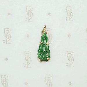 Vivid Green Jade Buddha Charm in 18k Gold