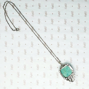 1920s Amazonite and Marcasite in Sterling Pendant
