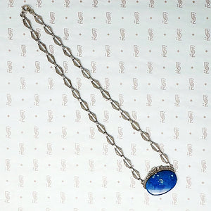 Art Deco Lapis Necklace in Silver and Marcasite