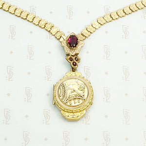 Victorian Book Chain with Aesthetic Movement Locket