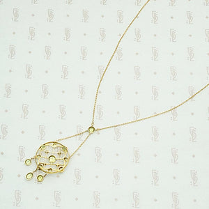 Scalloped Web Necklace of Pearl & Peridot, back