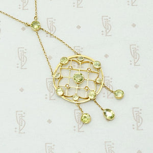 Scalloped Web Necklace of Pearl & Peridot, detail