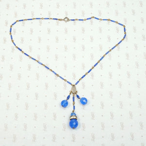 Luminous Blue Beaded Brass Necklace