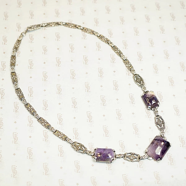 1930s Amethyst and Marcasite Silver Necklace