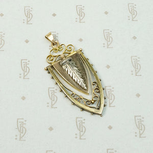 Rose & Yellow Gold Victorian Fob with Silver Feather