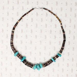 Heishi Bead Necklace with Turquoise Nuggets