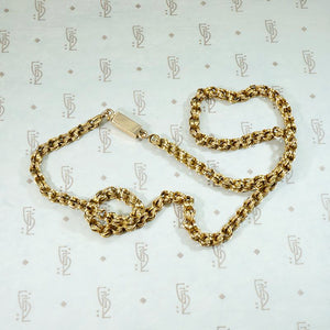 Engraved 15ct Gold Link Chain with Pearl-Set Clasp