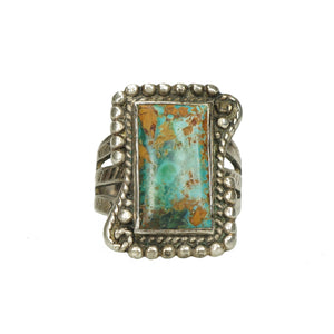 Early Native American Coin Silver Turquoise Ring - Gem Set Love