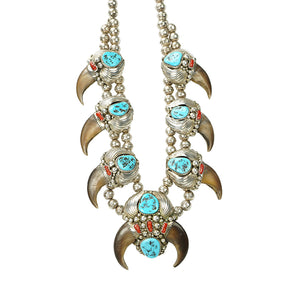 Extraordinary Navajo Bear Claw, Coral and Turquoise Necklace in Sterling Silver