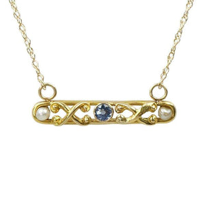 Antique Bar Necklace in Yellow Gold with Sapphire and Pearls