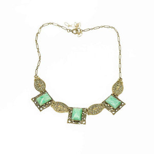 Czech Necklace from the 20's in Green Glass and brass Filigree