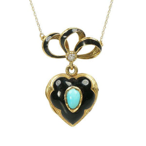 Antique French 18k Black enamel and Turquoise Locket
