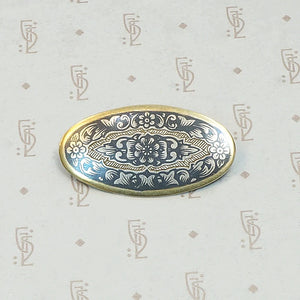 Russian Silver Gilt and Niello Pin