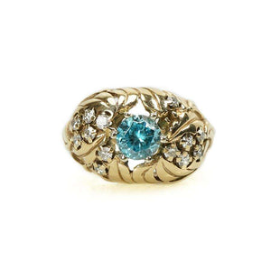 Vintage Naturalistic Diamond and a Sparkling Natural Blue Zircon Ring