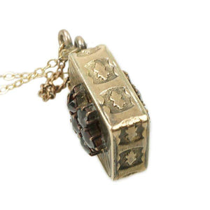 Gold Victorian Pendant Perfume Bottle set with Bohemian Garnets