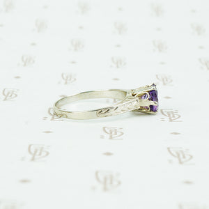 otsby and barton white gold and amethyst ring side