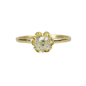 Cushion Cut Antique Diamond Gold Engagement Ring - Gem Set Love