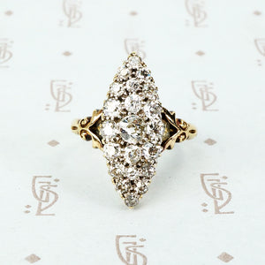 marquis shaped old mine cut diamond cluster ring