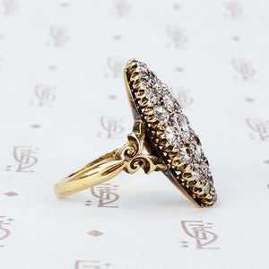 Exquisite Antique 18k Old Euro Diamond Navette Ring