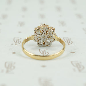 Rare old Mine Cut Pear Shaped Diamond Flower Ring