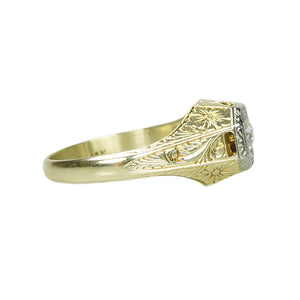 Platinum and Gold Diamond Set Gentlemans Ring