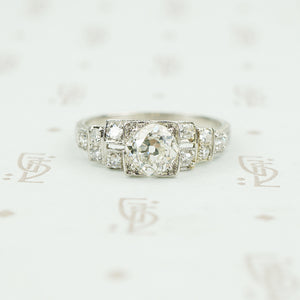 platinum deco engagement ring