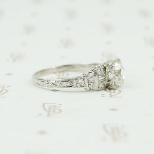 platinum deco engagement ring side view