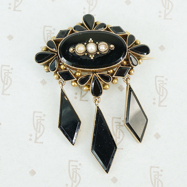 Late 19th c Gold and Onyx Brooch with pearls and long onyx drops