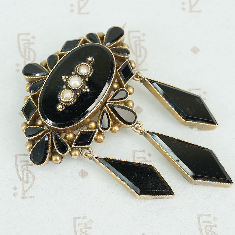 Late 19th c Gold and Onyx Brooch