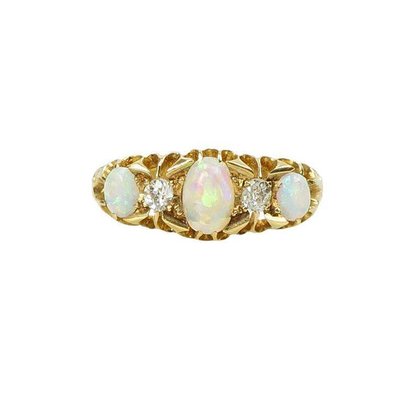 Fiery Opal and Diamond Ring in 18k