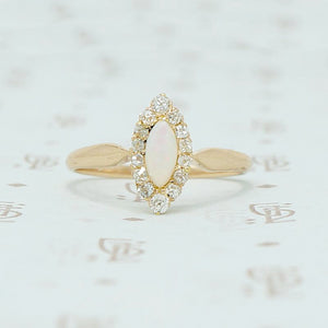 opal and omc diamond navette ring