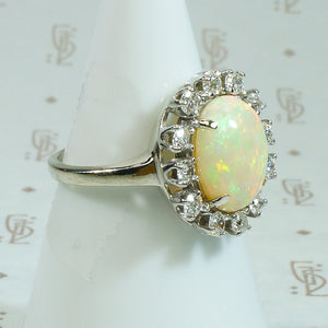 Kaleidoscope of Color Opal and Diamond Ring