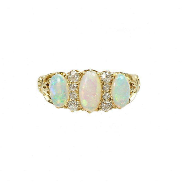 Fiery Opal and Diamond Vintage Ring
