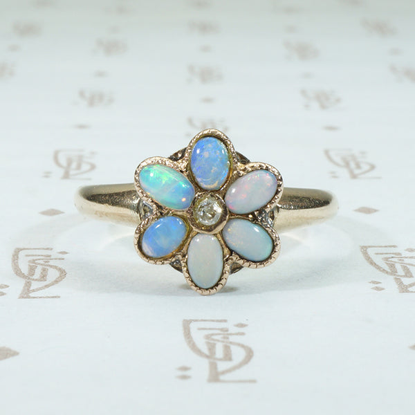 opal and diamond flower ring antique