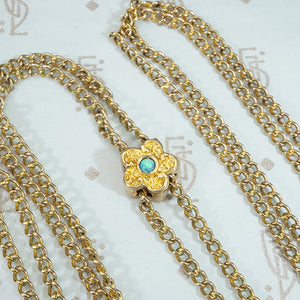 Fabulous Gold Flower Slide with a Fiery Opal Watch Chain