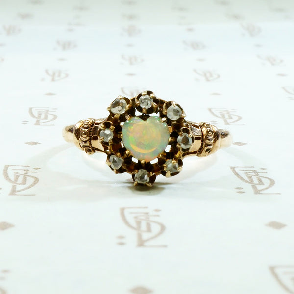 opal heart with rose cut diamond halo rose gold ring