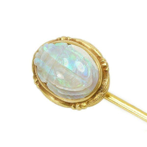 Antique Carved Opal Scarab Stick Pin in Gold