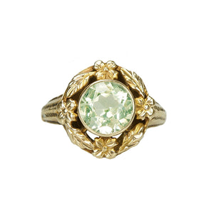 Otsby and Barton Yellow Gold Floral Ring - Gem Set Love
