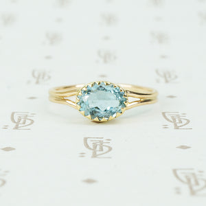 14k recycled gold oval aquamarine ring