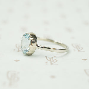 The Oval Aquamarine Ring in Recycled White Gold