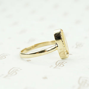 recycled 18k gold vintage imperial topaz ring side detail