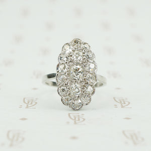 platinum omc diamond cluster ring