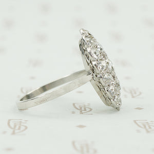 platinum omc diamond cluster ring side view
