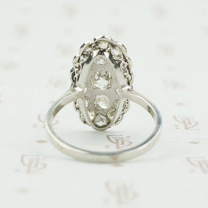platinum omc diamond cluster ring back view