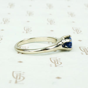 Recycled White Gold Oval Sapphire Solitaire by GSL