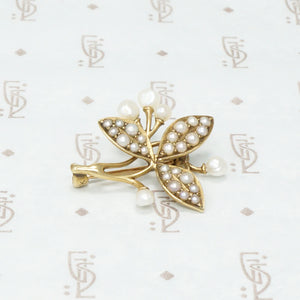 Leaves of Three Brooch in Gold and Pearls