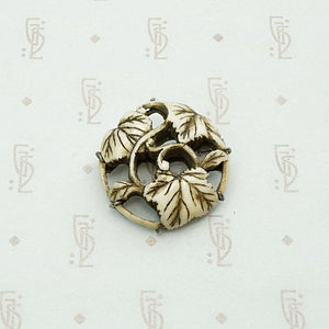 Chinese Carved Bone Leaf Brooch