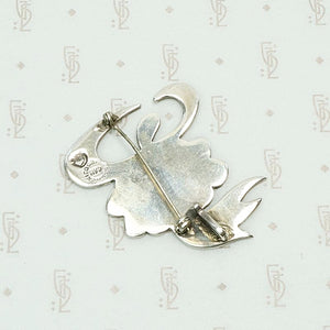 Vivacious Parrot Pin in Sterling & Turquoise